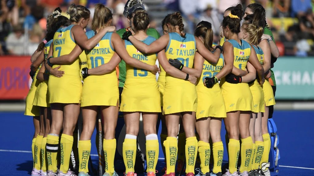 Australias Hockeyroos huddle post game vs New Zealand in the FIH ProLeague
