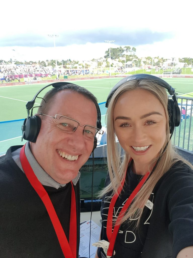 Anita McLaren post a photo on social media of herself and Ashley Morrison in the commentary box.