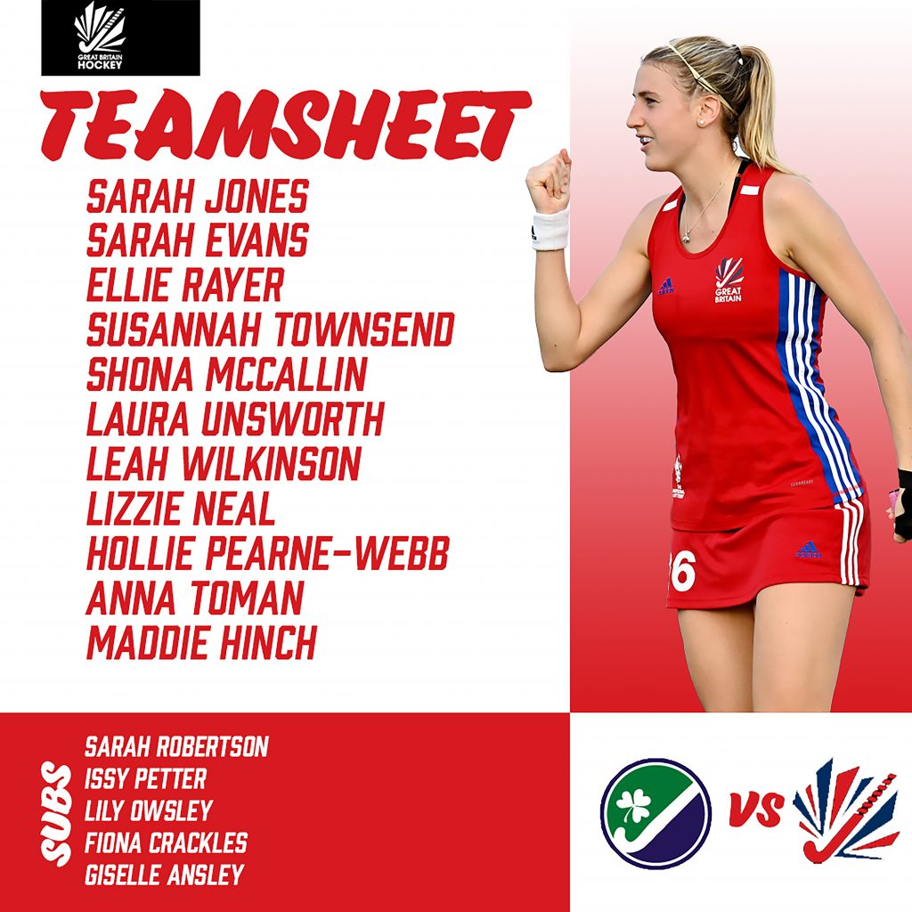 Great Britain Teamsheet for Game 2 of the SoftCo series