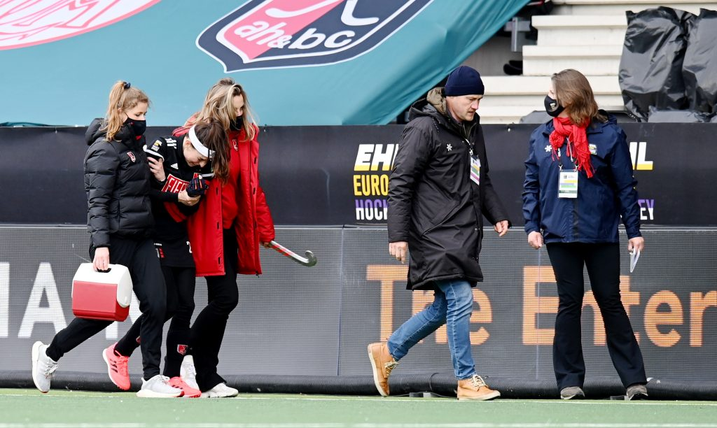 Amstelveen - Euro Hockey League Final4 2020-2021 Bronze: Amsterdamsche Hockey & Bandy Club - Der Club an der Alster Photo: Eva de Goede injured. WORLDSPORTPICS COPYRIGHT FRANK UIJLENBROEK