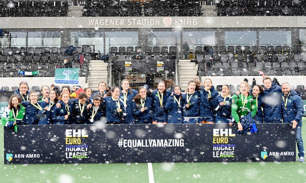 Amstelveen - Euro Hockey League Final4 2020-2021 Final: HC 'S Hertogenbosch - Club de Campo Villa de Madrid HC 's Hertogenbosch win the first Women's EHL season. Photo: Campo women celebrate the  second place. WORLDSPORTPICS COPYRIGHT FRANK UIJLENBROEK