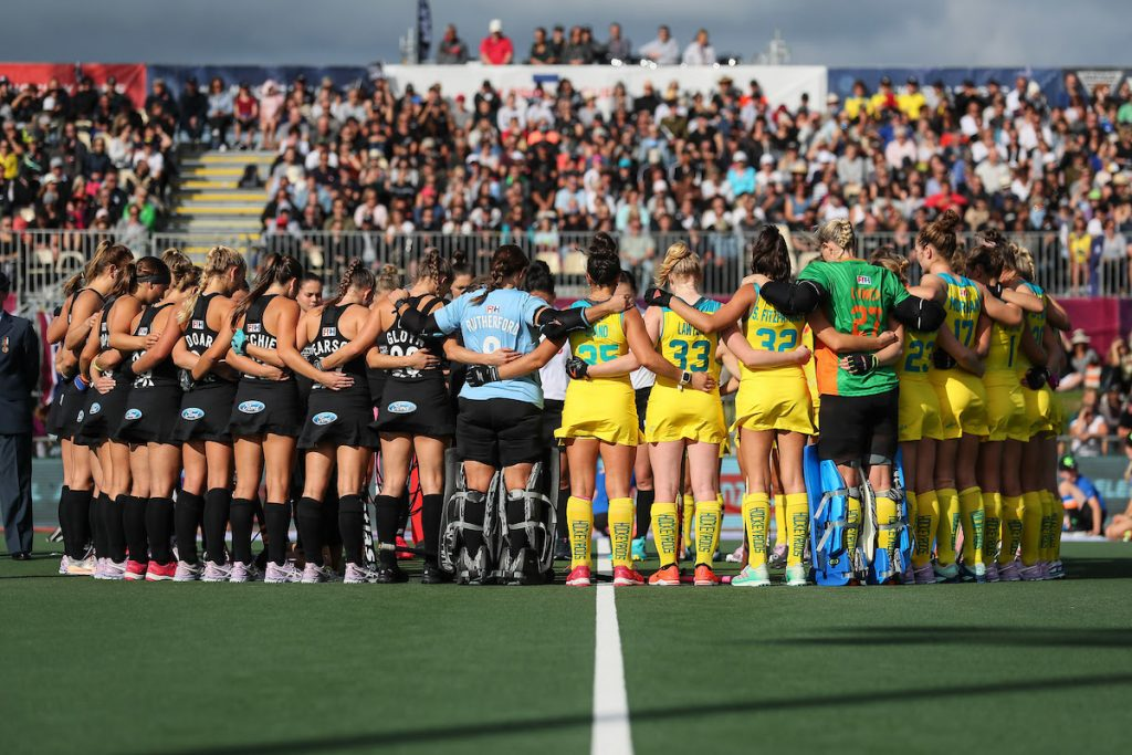 New Zealand and Australia line up for a minutes silence ahead of the ANZAC Memorial match